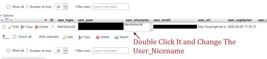 changing the user nicename in PhpMyAdmin to remove username from author link