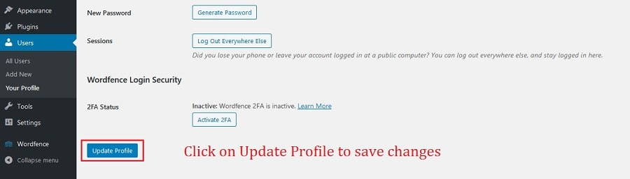 click on update changes to save settings and remove WordPress admin bar