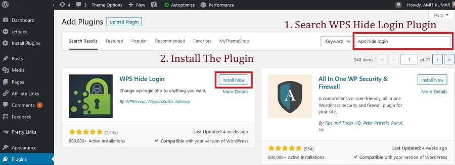 searching and installing wps hide login plugin