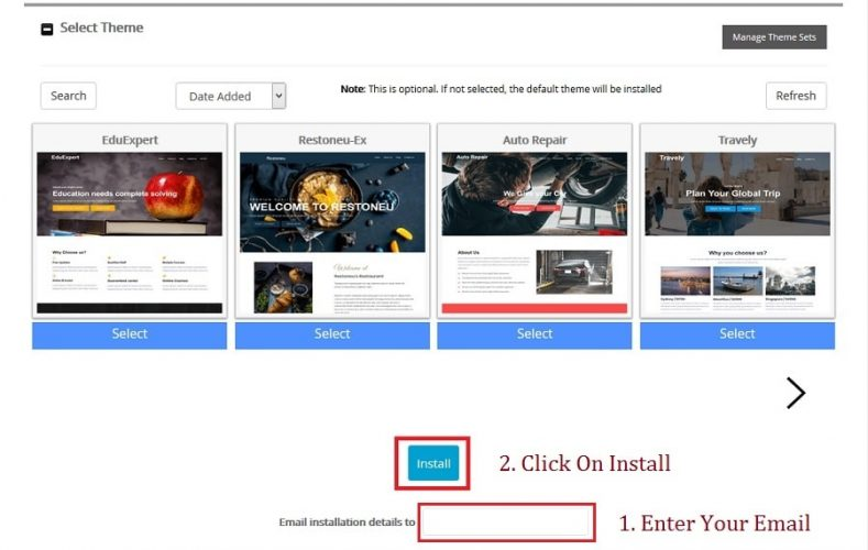 select WordPress theme in softaculous apps installer