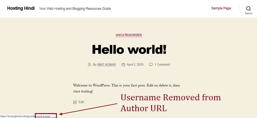 Username removed from author URL in WordPress
