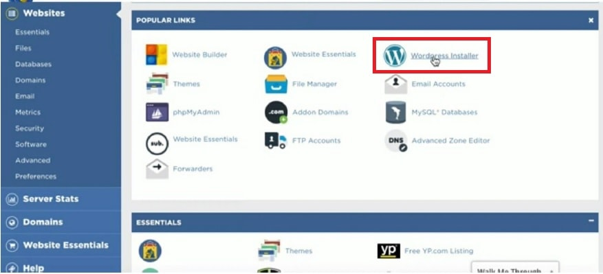 WordPress installer in hostgator cpanel